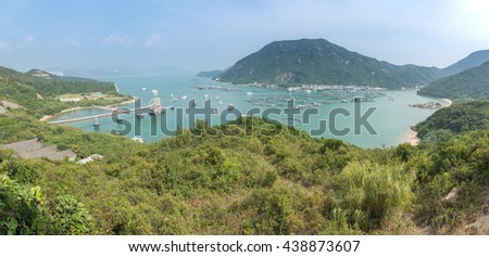 Hong Kong, Lamma island. Panorama of the bay with ships from the mountain. Sea view in Hong Kong from hill top of Lamma Island - stock photo