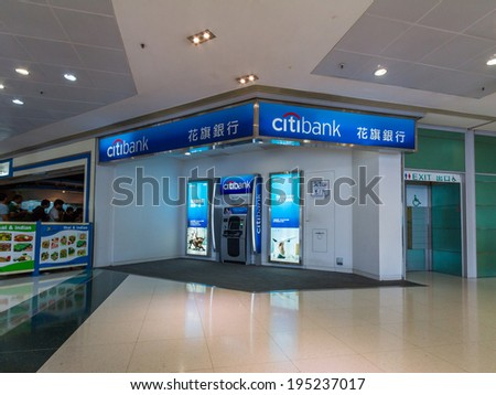 HONG KONG - MAY 25, 2014: A Citibank ATM machine at The Metropolis Fortune located in Hung Hom, Hong Kong. Citibank is the consumer banking division of financial services multinational Citigroup.  - stock photo