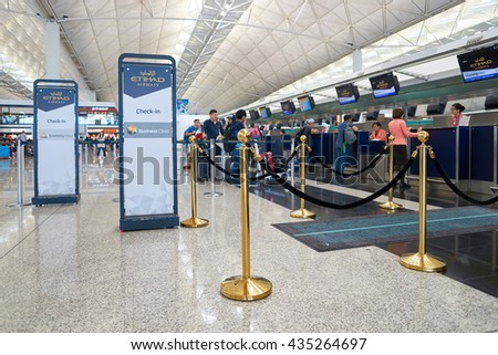 HONG KONG - MAY 12, 2016: design of Etihad check in counters at Terminal 1 of Hong Kong Airport. Etihad Airways is a flag carrier and the second-largest airline of the United Arab Emirates. - stock photo