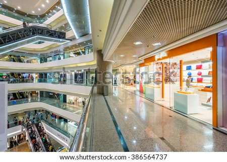 HONG KONG - MAY 28, 2015: interior of shopping mall in Hong Kong. Hong Kong shopping malls are some of the biggest and most impressive in the world - stock photo