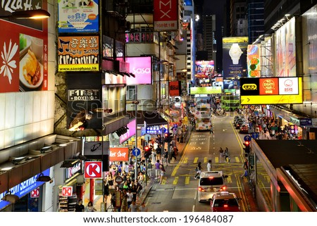 HONG KONG - MAY 17 : Mongkok at night on May 17, 2014 in Hong Kong. Mongkok is characterized by a mixture of old and new multi-story buildings, with shops and restaurants at street level. - stock photo