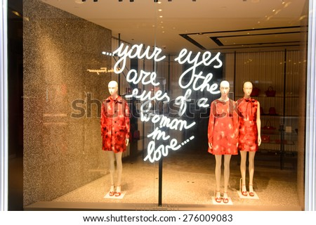 HONG KONG - MAY 05, 2015: Valentino store interior. Valentino SpA is a clothing company founded in 1959 by Valentino Garavani. It is a part of Valentino Fashion Group - stock photo