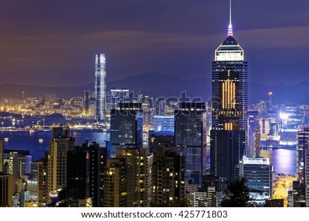 Hong Kong Modern City Night - stock photo