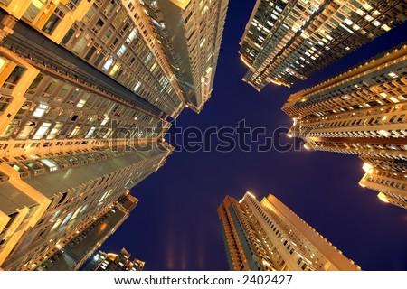 Hong Kong Night Scene - stock photo
