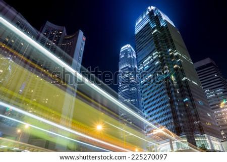 Hong Kong night with building - stock photo
