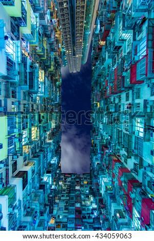 Hong Kong nightscape - stock photo