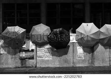 HONG KONG, OCT 8: Umbrella Revolution in Causeway Bay on 8 October 2014.  Hong Kong people are fighting for a real universal suffrage for the next chief executive election. - stock photo