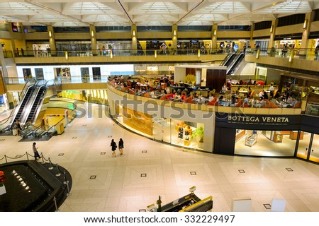 """HONG KONG - OCTOBER 25, 2015: interior of the Landmark shopping mall. The Landmark, also known as """"Central"""", is one of the oldest and most prominent shopping malls in Hong Kong. - stock photo"""