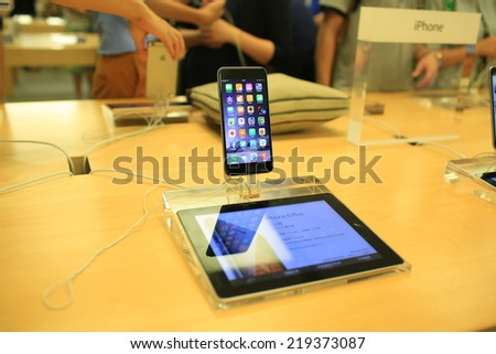HONG KONG, SEPT. 24: Apple iPhone six plus New launch in flagship of apple store in Festival Walk mall in hong kong on 24 September 2014. Hong kong, one of region where  iPhone 6 1st round launching. - stock photo
