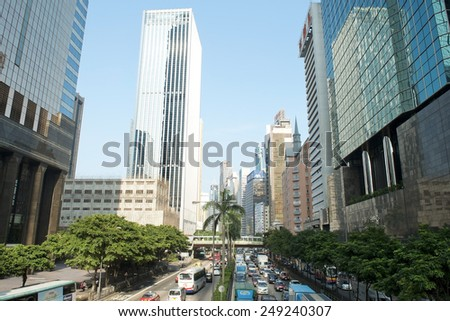 HONG KONG - September 25: view of the busy streets of modern Hong Kong on September 25, 2013 in Hong Kong, China - stock photo