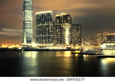 Hong Kong skyline at night - stock photo