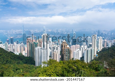 Hong Kong skyline from Victoria Peak. - stock photo