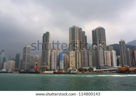 Hong Kong Skyline. View from boat. - stock photo