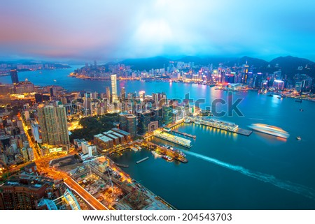 Hong Kong Victoria Harbour - stock photo