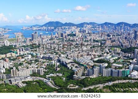 Hong Kong view from high at kowloon side - stock photo