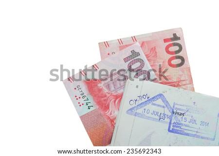 Hongkong passport stamps dollar bills, isolated on white background - stock photo