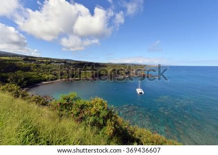 Honolua Bay snorkeling, Maui, Hawaii -1  - stock photo
