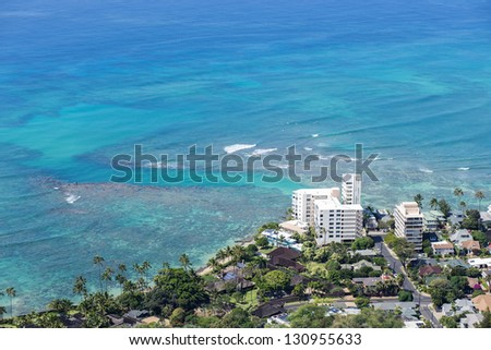 Honolulu downtown by the blue sea - stock photo