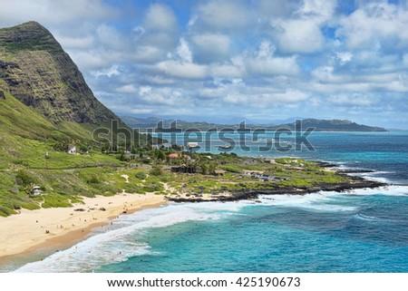 Honolulu,Hawaii big blue ocean vista view. - stock photo