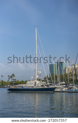 Honolulu, Hawaii, USA, April 23, 2015:  Large sailboat from Finland by way of Mexico, is enjoying a stay at the world famous Waikiki Yacht Club in Honolulu, Hawaii.   - stock photo
