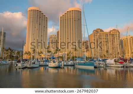 Honolulu, Hawaii, USA, April 9, 2015: The State of Hawaii Ala Wai Small Boat Harbor is a sports and recreation headquarters for Honolulu and Waikiki.    - stock photo