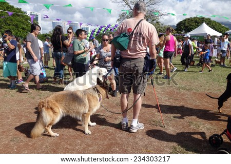 Honolulu, HI - OCTOBER 13: Honolulu Pet Walk 2014, people and dogs explore booth at Ala Moana Beach Park on October 12, 2014 in Honolulu, Hawaii.   The 2014 PetWalk raised $318,000. - stock photo