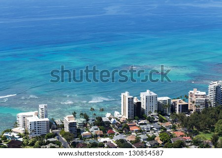 Honolulu skyline with seafront - stock photo