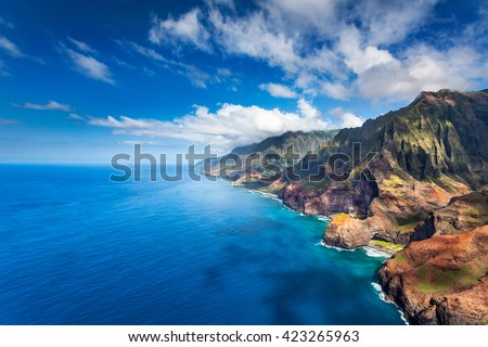 Honopu and Kalalau Beaches on the rocky Na Pali coast, Kauai, Hawaii - stock photo