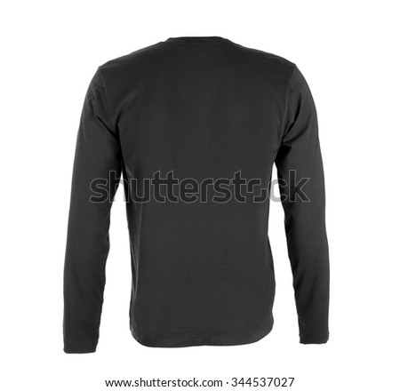 Hooded sweater (back view) isolated on white - stock photo