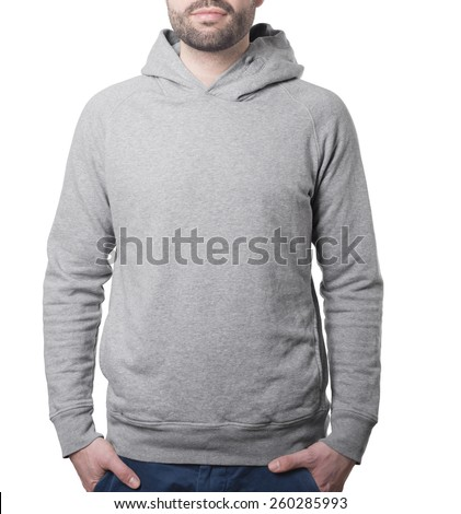 hoody pullover template with male torso isolated on white with clipping path both for background and garment - stock photo