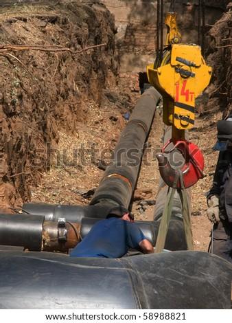 Hook  pipes  repair - stock photo