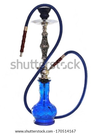 Hookah blue glass isolated on white. - stock photo