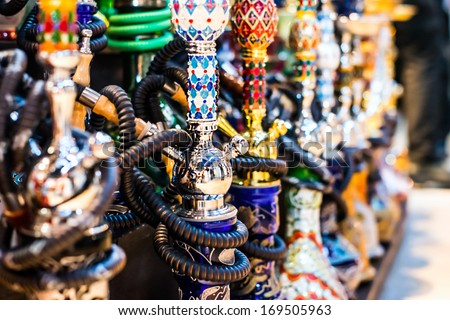 Hookah in souvenir shop at Dubai, UAE - stock photo