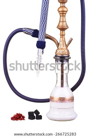 Hookah with milk isolated on a white background. Water pipe, hookah tobacco, coal, charcoal - stock photo
