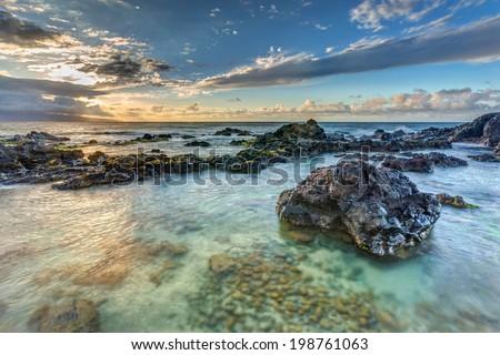 Hookipa sunset on the island of maui, Hawaii - stock photo