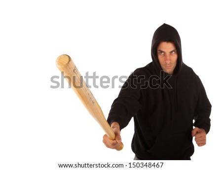 Hooligan with baseball bat isolated on white. Focus on bat - stock photo