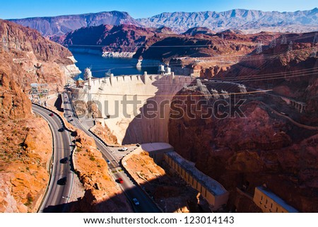 Hoover Dam across the Border of Nevada and Arizona - stock photo