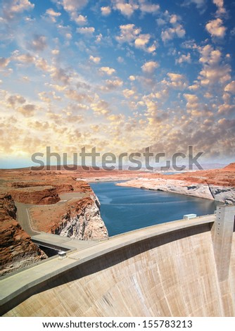 Hoover Dam, Arizona-Nevada border. Beautiful view of structure and Colorado river at sunset. - stock photo