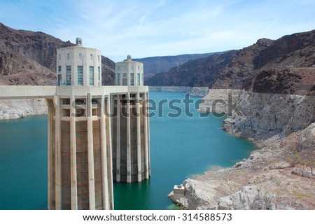 Hoover dam hydro electric power plant in Nevada Colorado United States - stock photo