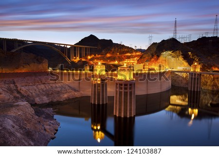 Hoover Dam. Image of Hoover Dam and Hoover Bridge at twilight blue hour. - stock photo