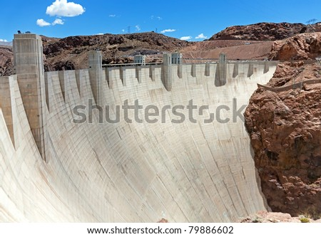 Hoover Dam in sunny day on the border of Arizona and Nevada - stock photo
