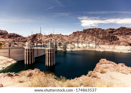 Hoover Dam in the Black Canyon of the Colorado River, between the US states of Arizona and Nevada. - stock photo