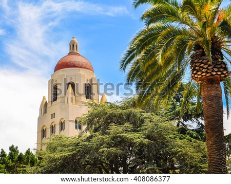 Hoover Tower, Stanford University - Palo Alto, CA - stock photo
