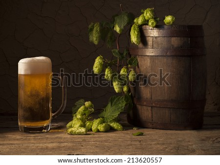 hop cone with beer  - stock photo