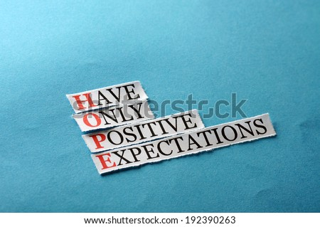 hope acronym concept , words on cut paper hard light - stock photo