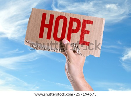 Hope card with sky background - stock photo