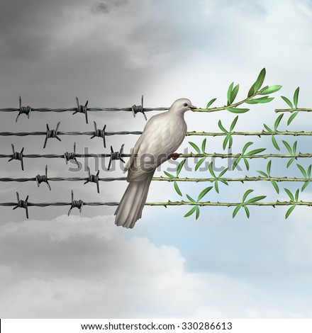 Hope concept as a dove on barbed wire to olive branches as a symbol for good will of man and a respect for humanity and the globe as a new year or holiday greeting with a wish of a safer world. - stock photo