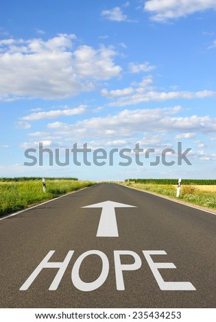 Hope - Street with arrow and text - stock photo