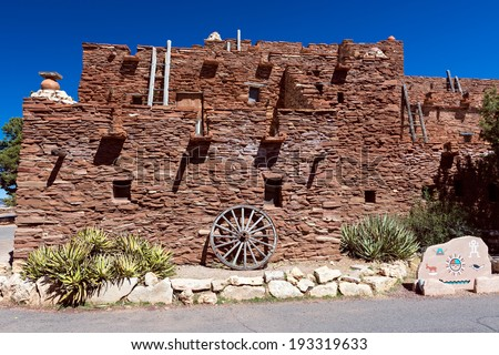 Hopi house in Grand Canyon Nation Park. Originally built in 1905 as quarters and place to sell souvenir and crafts from Hopi artisans.  - stock photo
