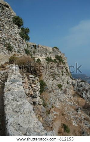 Hora Castle at Kythera, Greece - stock photo